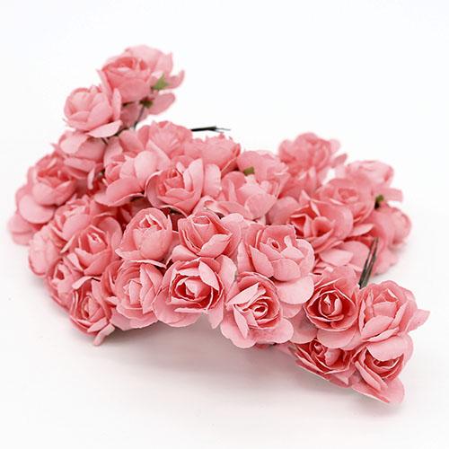 미니장미 분홍 종이꽃 B-05-026
