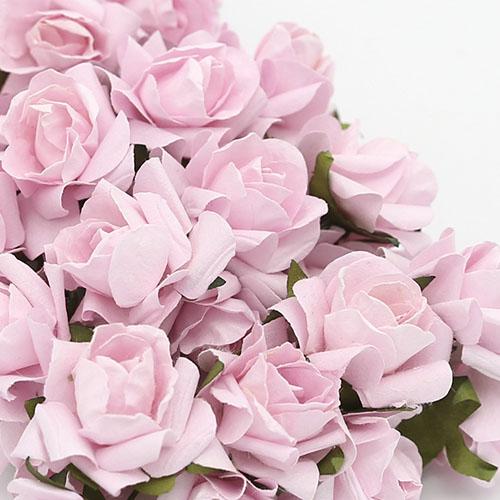 미니장미 핑크 종이꽃 8송이 2.5cm B-05-033