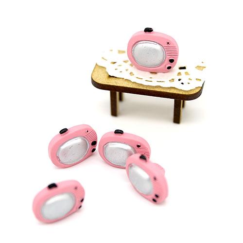 핑크 TV 미니어쳐 5개 2.3cm A-02-003