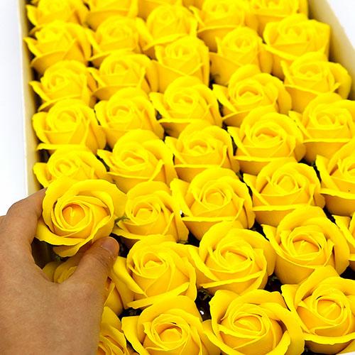 노랑 비누장미 50송이 한 박스 꽃대미포함