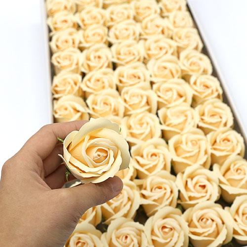 살구색 비누장미 50송이 한박스 꽃대미포함