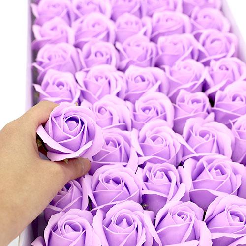 연보라 비누장미 50송이 한박스 꽃대미포함