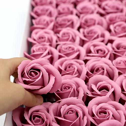 럭셔리핑크 비누장미 50송이 한박스 꽃대미포함