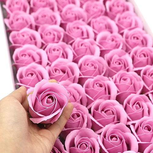 인디핑크 비누장미 50송이 한박스 꽃대미포함