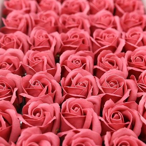 로즈핑크 비누장미 50송이 한박스 꽃대미포함