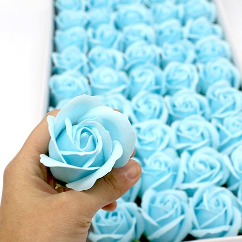 하늘색 비누장미 50송이 한박스 꽃대미포함