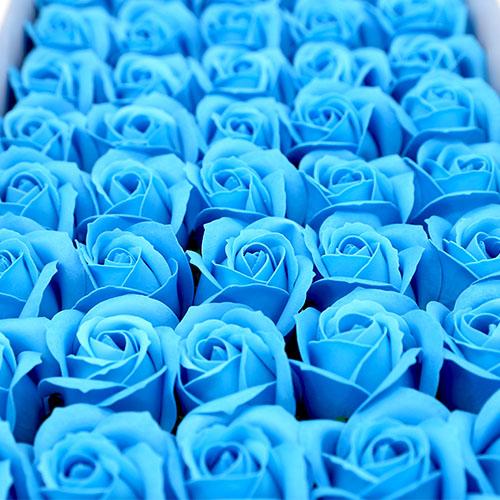 연파랑 비누장미 50송이 한박스 꽃대미포함