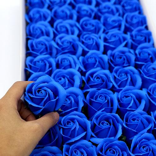 파랑 비누장미 50송이 한박스 꽃대미포함