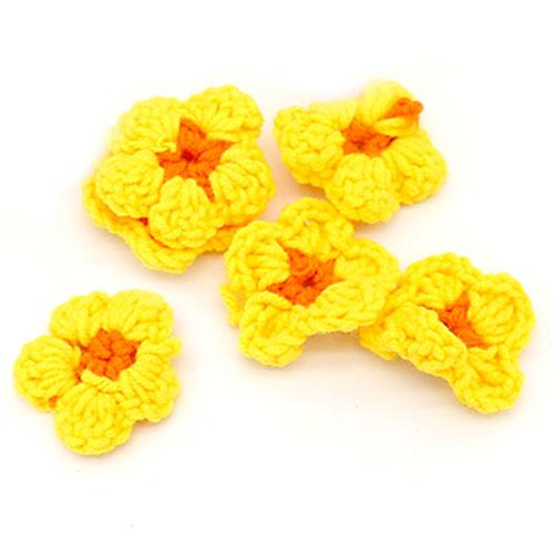 뜨개 둥근꽃 노랑 5개 크기 4cm A-05-087