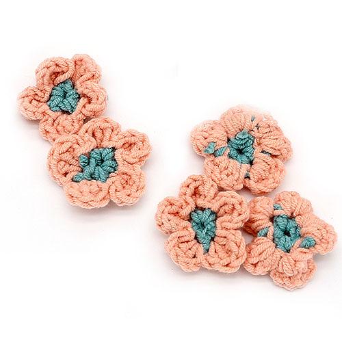 뜨개 둥근꽃 연분홍 5개 크기 4cm A-05-084