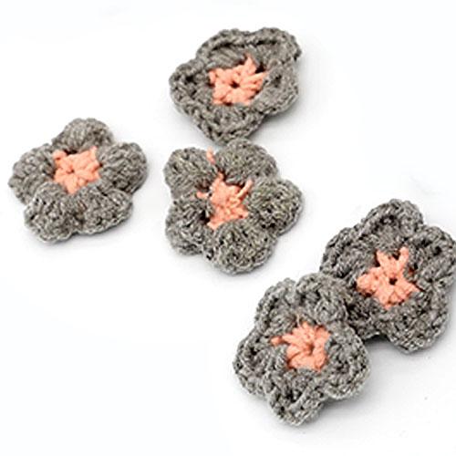 뜨개 둥근꽃 회색 5개 크기 4cm A-05-086