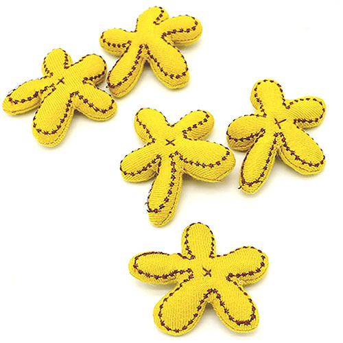 별 스티치 꽃 노랑 5개 5cm A-05-091