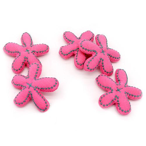 별 스티치 꽃 분홍 5개 5cm A-05-104