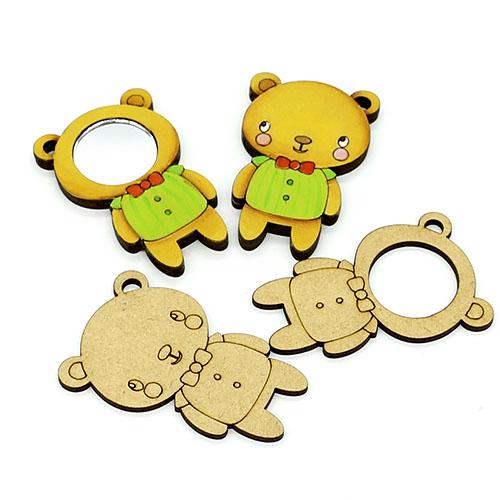 곰돌이 손거울 오너먼트 반제품 1개 13.5cm D-08-007