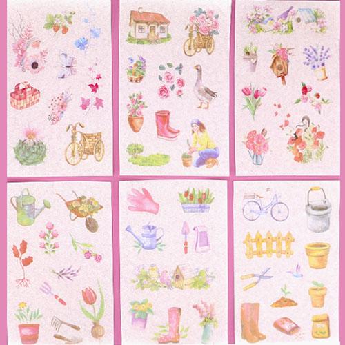 종이스티커 아름다운 정원 6장 H02-003