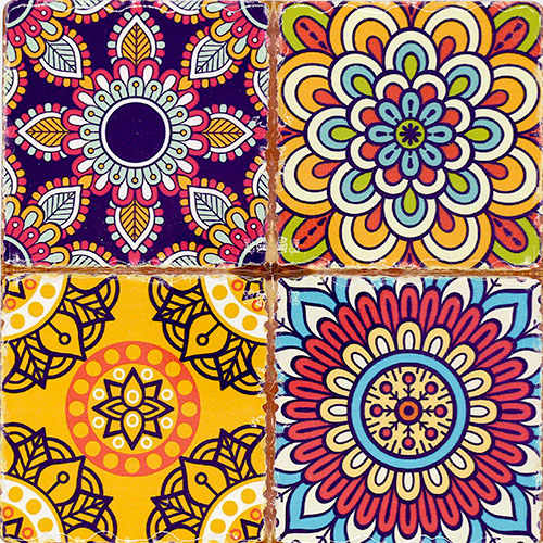 동양풍 꽃 패턴 4컷 그림타일 16cm Q-03-004