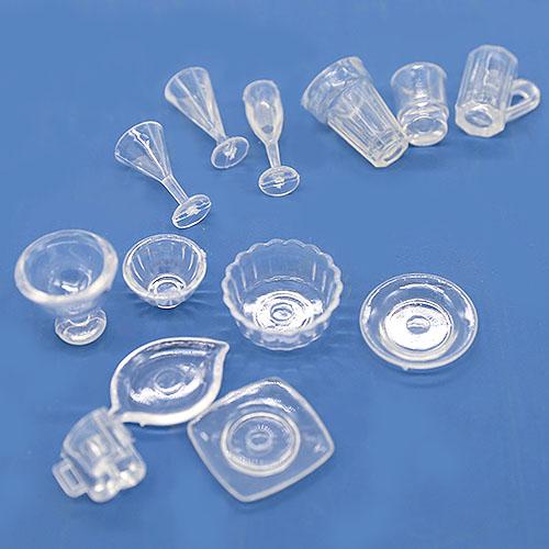 투명 접시와 컵 세트 미니어쳐 13개 A-02-013