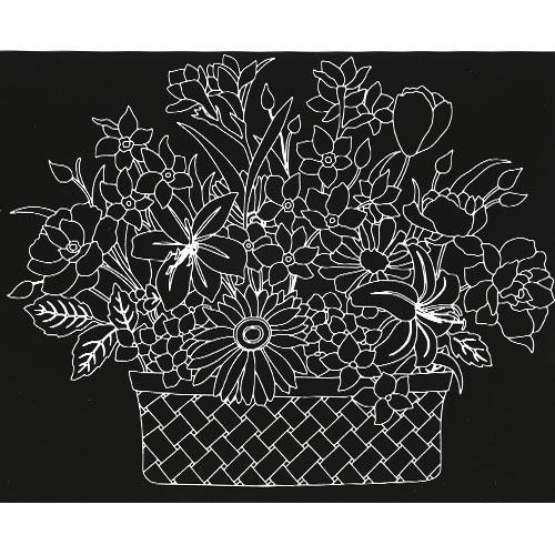 스크래치 페이퍼 도안-꽃 바구니 E-01-081