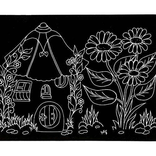 스크래치 페이퍼 도안-꽃과 작은 집 E-02-025