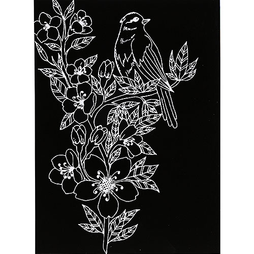 스크래치 페이퍼 도안-새와 꽃 1 E-02-005