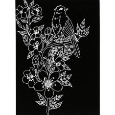 스크래치 페이퍼 도안-새와 꽃 1