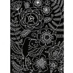 스크래치 페이퍼 도안-새와 꽃 2