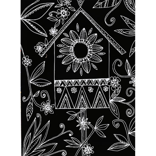 스크래치 페이퍼 도안-꽃무늬 새둥지