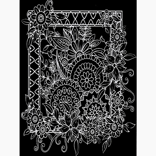 스크래치 페이퍼 도안-꽃 액자 E-02-027