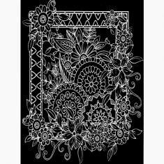 스크래치 페이퍼 도안-꽃 액자