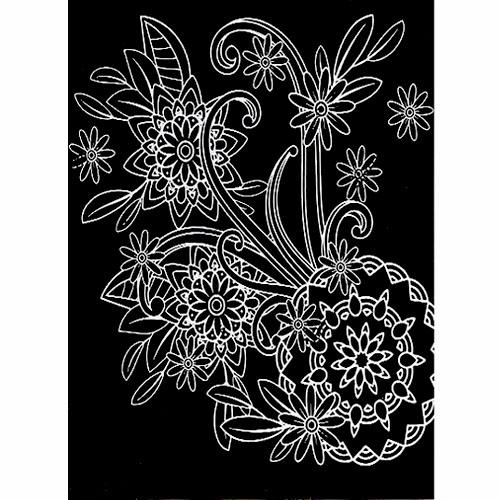 스크래치 페이퍼 도안-꽃 패턴 1