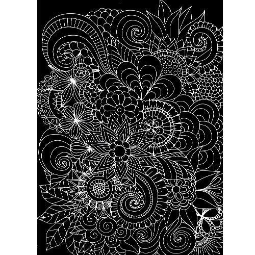 스크래치 페이퍼 도안-꽃 패턴 2