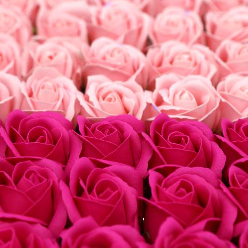 비누장미 2색 믹스형 50송이 한 박스 진분홍 연분홍 꽃대미포함